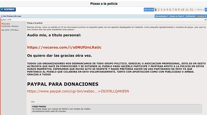 Imagen - Forocoches recauda más de 9.000 euros para mandar pizzas a la Policía
