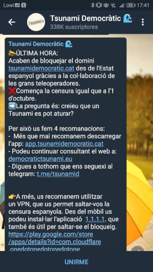 Imagen - Cierran la web de Tsunami Democràtic pero se puede seguir accediendo