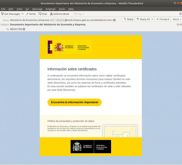 Imagen - Cuidado con el falso email de información sobre certificados electrónicos