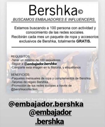 Imagen - ¡Cuidado! Bershka no busca embajadores, es una estafa