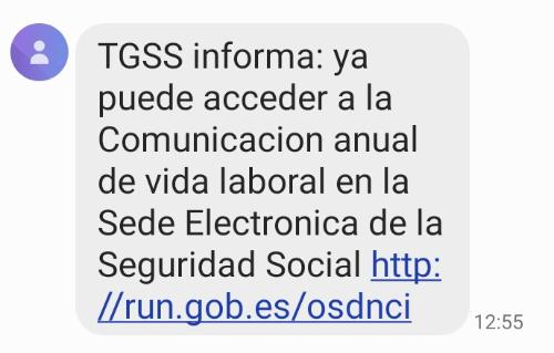 """Imagen - ¿Qué es el SMS de """"Comunicación anual de vida laboral""""?"""