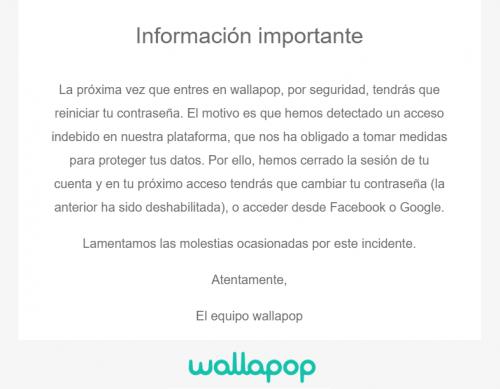Imagen - Wallapop obliga a cambiar contraseñas: la app de compraventa habría sido hackeada