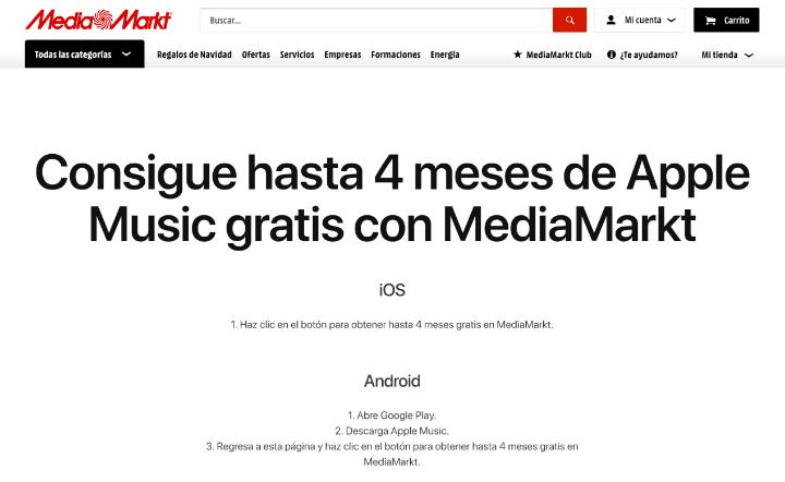 Imagen - Oferta: 4 meses gratis de Apple Music en MediaMarkt
