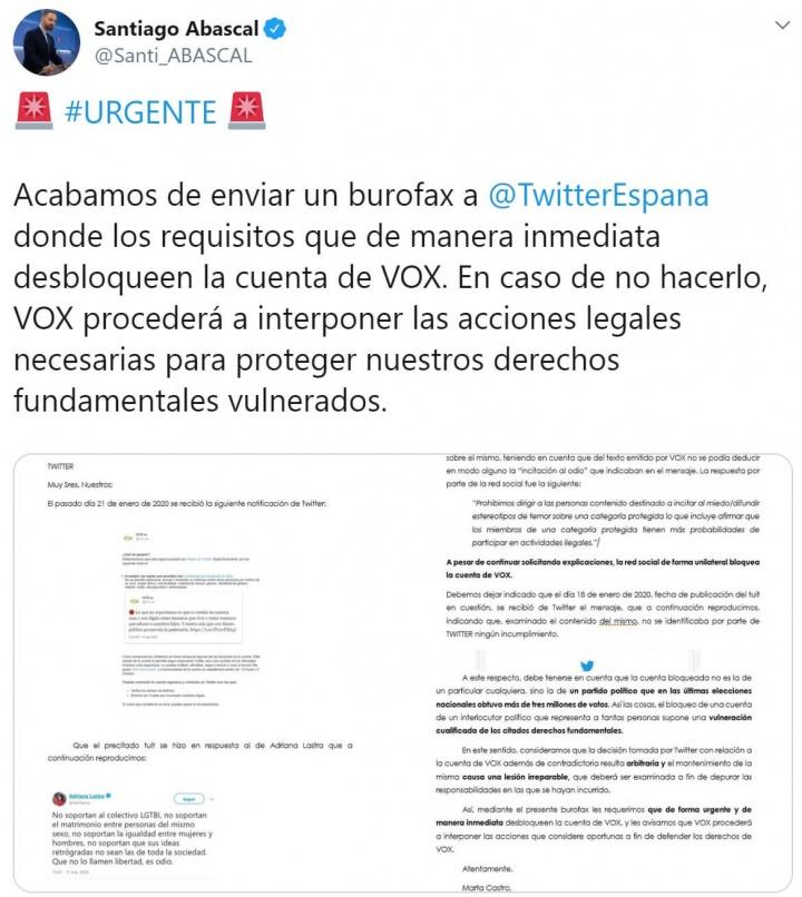 Imagen - Vox planea demandar a Twitter