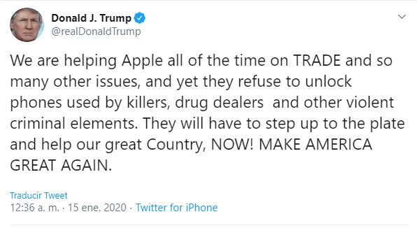Imagen - Trump pide a Apple que desbloquee los iPhones de los acusados de delitos
