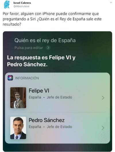 Imagen - Siri cree que Pedro Sánchez es el rey de España