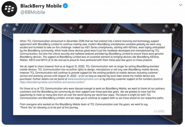 Imagen - BlackBerry deja de fabricar móviles: TCL abandona la marca