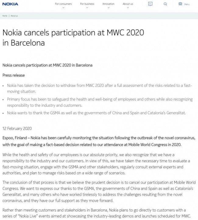 Imagen - Nokia no asistirá al MWC 2020