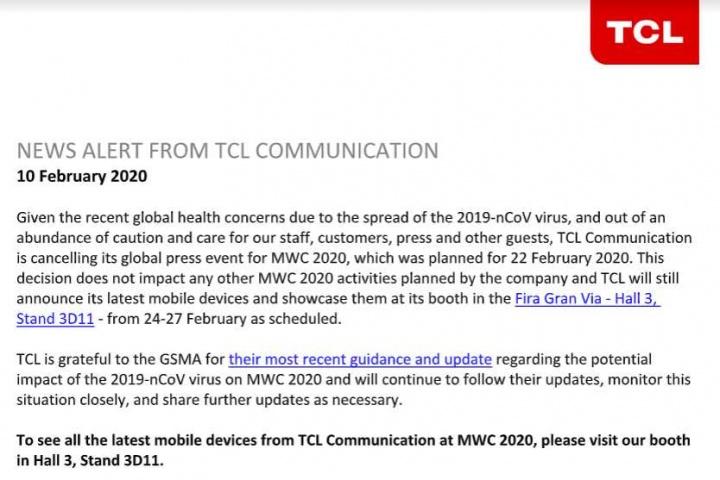 Imagen - TCL no acudirá al MWC por el coronavirus