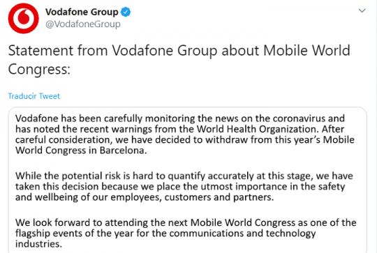 Imagen - Vodafone no irá al MWC 2020