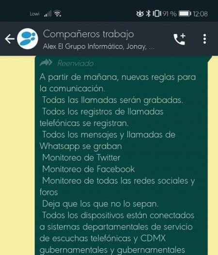 """Imagen - """"Las llamadas serán grabadas"""", el nuevo bulo de WhatsApp"""