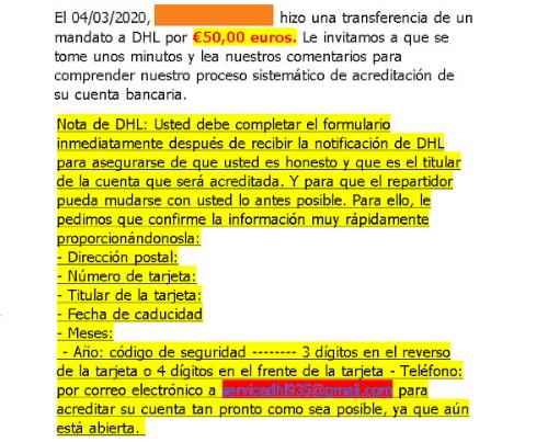 Imagen - Estafas en Wallapop simulando emails de DHL