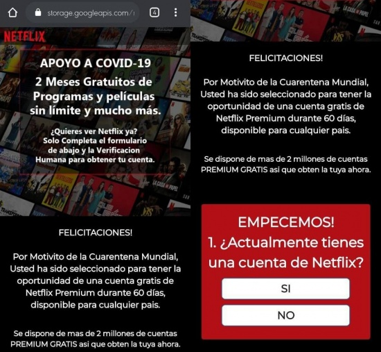 "Imagen - Cuidado con la estafa: ""2 meses de Netflix Premium gratis"""