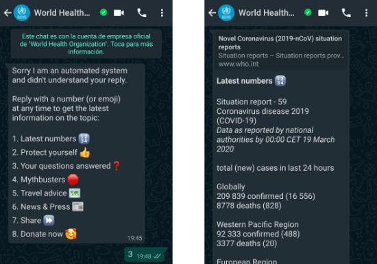 Imagen - Bot de la OMS en WhatsApp sobre el coronavirus: añádelo
