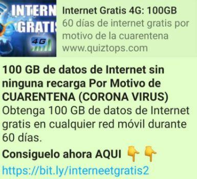"""Imagen - """"100 GB de Internet gratis"""", el nuevo bulo de WhatsApp"""