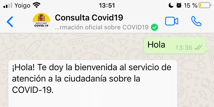Imagen - Hispabot-Covid19, consulta sobre el coronavirus en WhatsApp