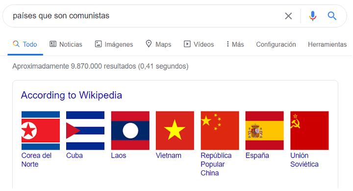 """Imagen - Google incluye a España en """"países que son comunistas"""""""