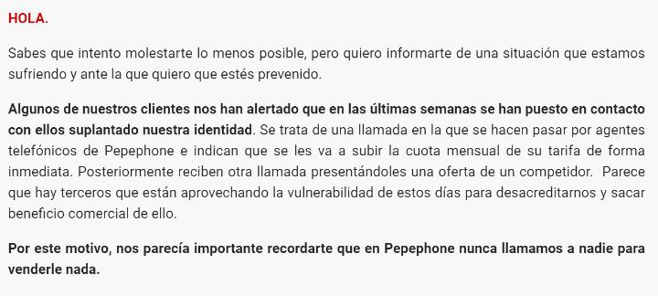 Imagen - Pepephone es suplantado en llamadas para subir tarifas