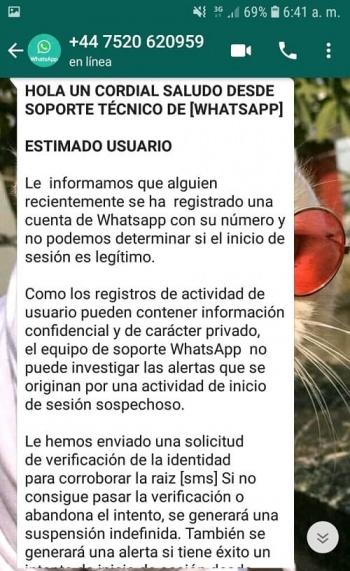 "Imagen - Estafa en WhatsApp: ""desde soporte técnico de WhatsApp"""