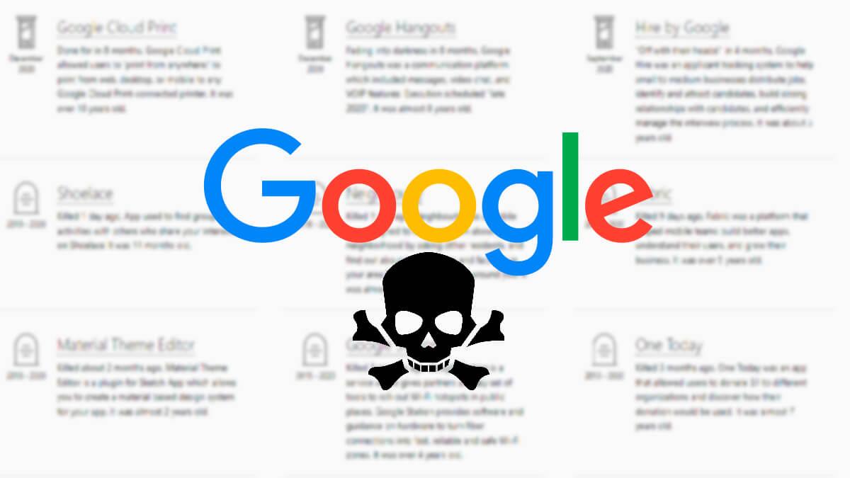 Esta web hace de cementerio de los servicios que ha cerrado Google