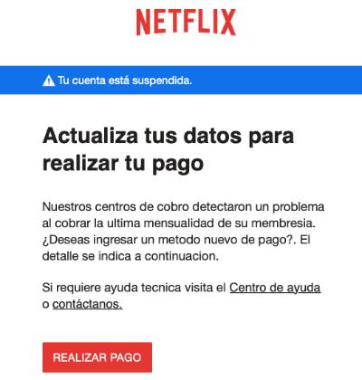 """Imagen - Netflix: """"Actualiza tus datos para realizar tu pago"""""""