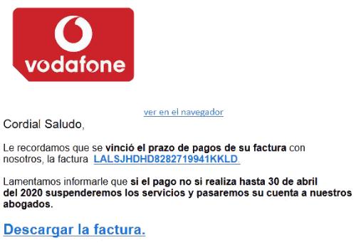 """Imagen - Phishing Vodafone: """"Vinció el prazo de pagos de su factura"""""""