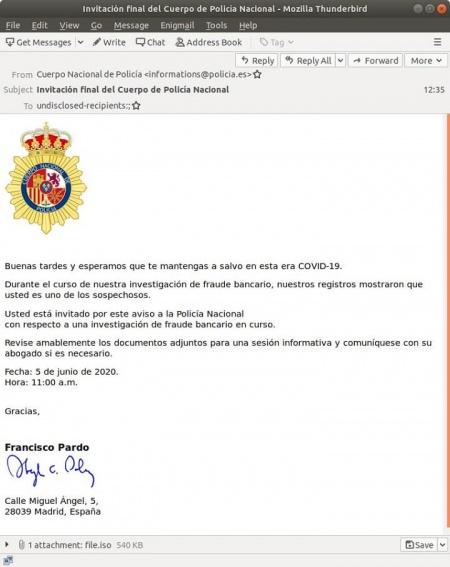 Imagen - Cuidado con este falso correo de la Policía Nacional