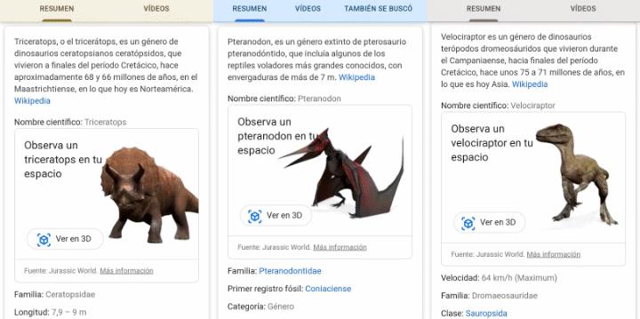 Imagen - Cómo ver dinosaurios en 3D en Google