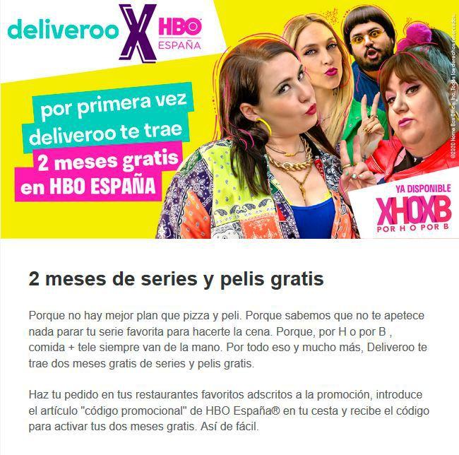 Imagen - Deliveroo regala 2 meses gratis de HBO