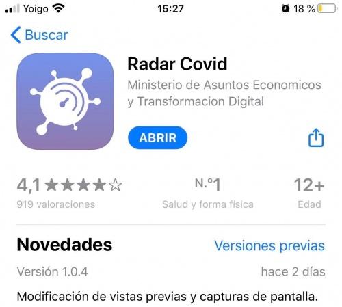 Imagen - Radar Covid ya lidera descargas en iOS y Android