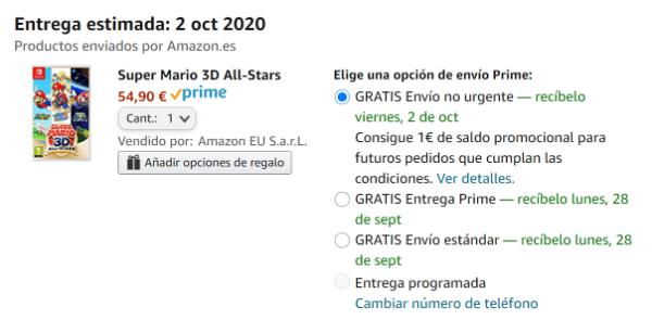 Imagen - Amazon regala 1 € de saldo con el envío no urgente