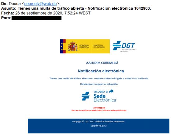 Imagen - Cuidado con la falsa notificación de la DGT en tu correo