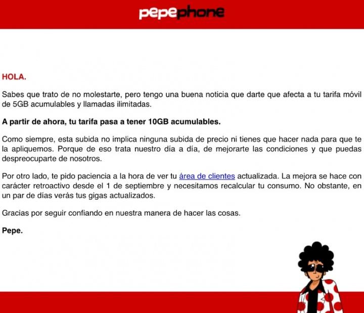 Imagen - Pepephone duplica gratis la tarifa de 5 GB a 10 GB