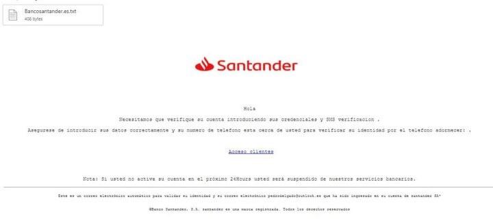 Imagen - Phishing contra el Banco Santander que roba cuentas