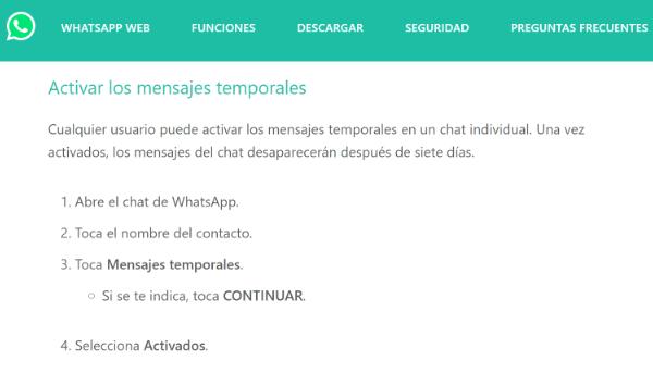 """Imagen - """"Mensajes temporales"""" en WhatsApp confirmados"""