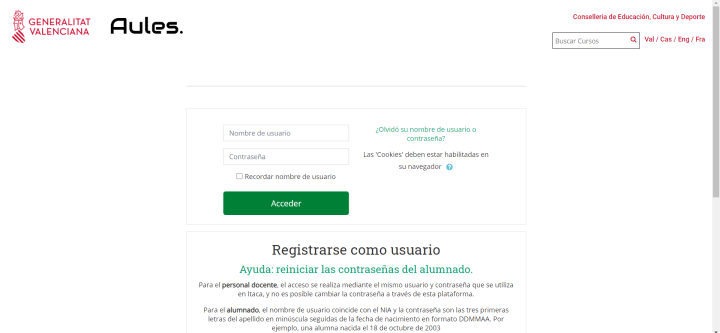 Imagen - Aules, la web de e-learning de la Comunidad Valenciana