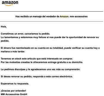 Imagen - Estafa en Amazon: cancelan pedidos y piden pago externo