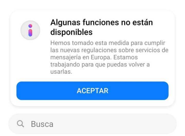 """Imagen - Facebook: """"algunas funciones no están disponibles"""""""