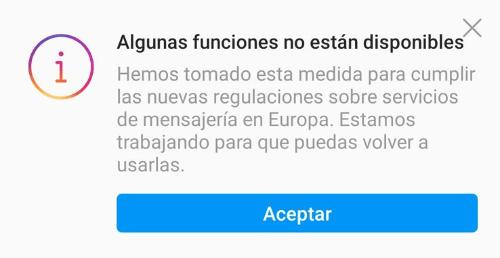 """Imagen - Instagram: """"algunas funciones no están disponibles"""""""