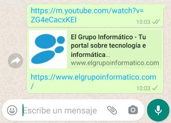 Imagen - WhatsApp falla al previsualizar enlaces de YouTube