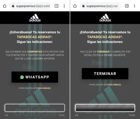 Imagen - Tapabocas Adidas: nueva estafa en WhatsApp