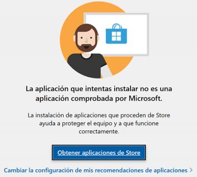 """Imagen - Solución: """"no es una aplicación comprobada por Microsoft"""""""