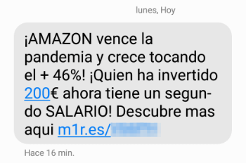 """Imagen - """"Amazon vence la pandemia"""": ¿es fiable el SMS?"""