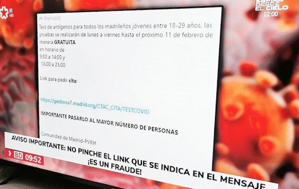 Imagen - Enlace para test de antígenos de Madrid: no es un bulo