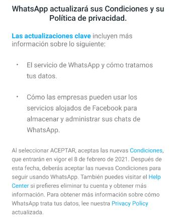 Imagen - ¿Puedo usar WhatsApp sin aceptar las nuevas condiciones?