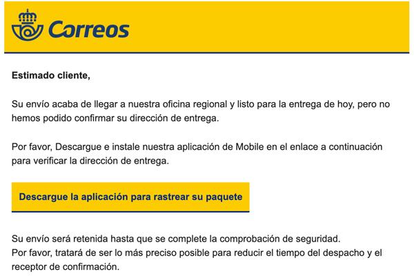 """Imagen - Cuidado con el email de Correos: """"Descargue la aplicación"""""""