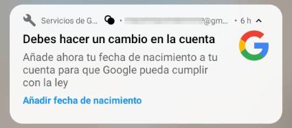 """Imagen - """"Añade tu fecha de nacimiento a tu cuenta Google"""", ¿por qué?"""