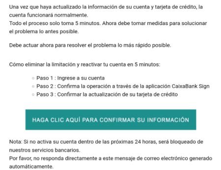 Imagen - Tarjeta suspendida en CaixaBank: ¿es real el email?
