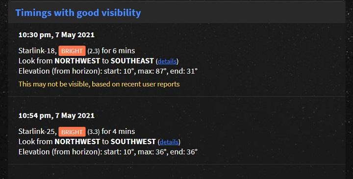 Imagen - Satélites Starlink: esta web te dice cuando son visibles