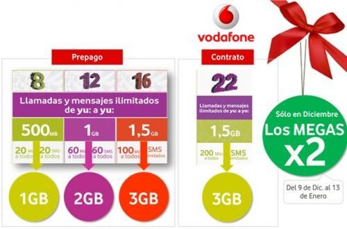 Imagen - Vodafone Yu ofrece el doble de megas en Navidad